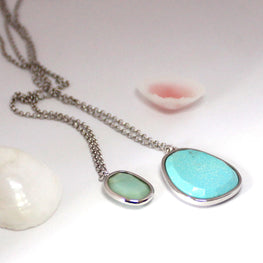 SUGAR MELON -Turquoise and Amazonite Necklace Duo