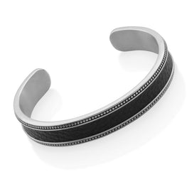 STEELX -  Genuine Black grained Leather Cuff with Oxidized Black Granulation