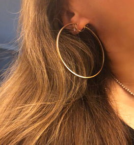 LUXURY - Spectacular 3mm Flat Strip 10K Yellow Gold Italian Hoops 65mm