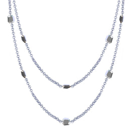 "FACET - Faceted Sterling Silver 48"" Wrap Necklace"