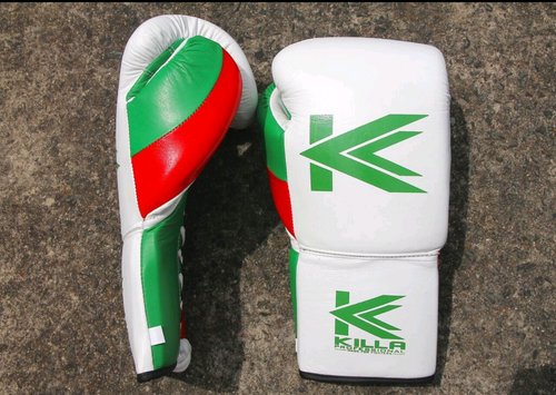 Killa Professional Elite Lace Up White with Green and Red Boxing Gloves
