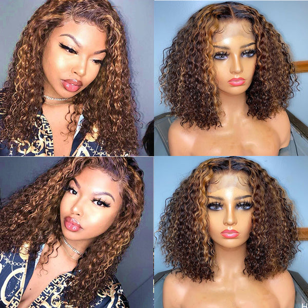 STELLA - Honey Blonde Highlighted Curly Bob Wigs 100% Human Hair Short Bob Wet Curly Lace Wig
