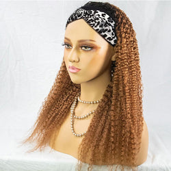 APRIL Customized #1B Roots Honey Blonde Curly Headband Wig *No Lace No Glue*