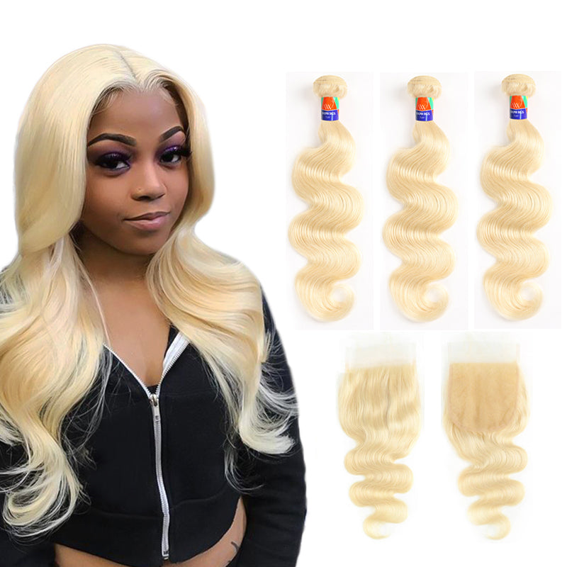 Platinum Blonde 3 Bundles + Closure Deals Body Wave