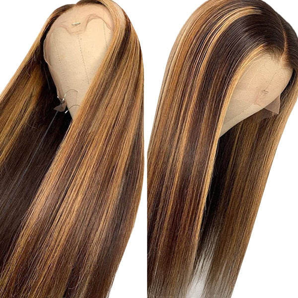 ERICA Honey Blonde Highlighted Straight Hair Human Hair Lace Wig Pre Plucked Natural Hairline
