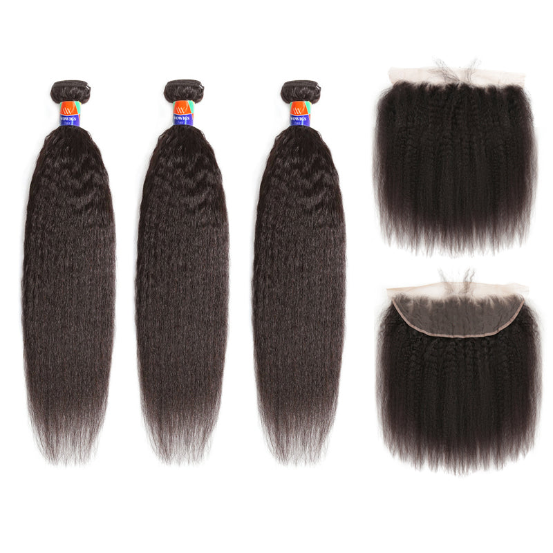 3 Bundles With a Frontal Kinky Straight Hair 100% Unprocessed Virgin Hair Extensions