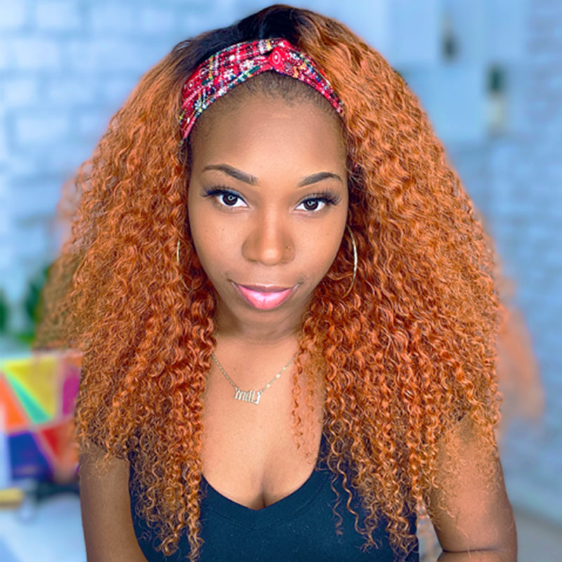 RITA Customized Fiery Copper Curly Headband Wig *No Lace No Glue*