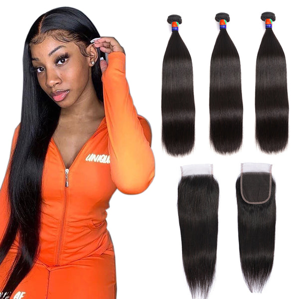 3 Bundles With a 4×4 Lace Closure Straight Hair Virgin Hair Extensions