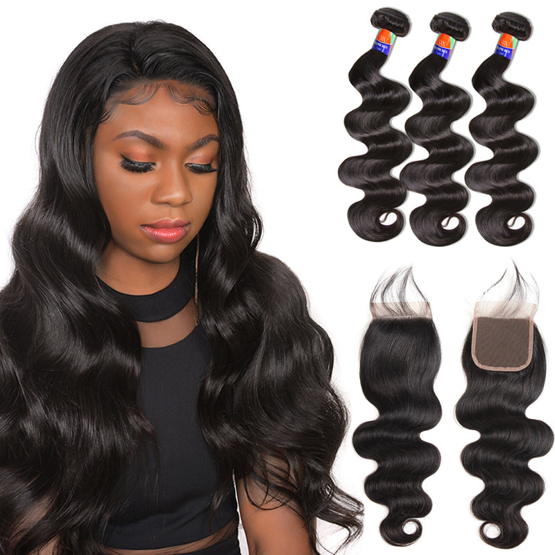 3 Bundles With a 4×4 Lace Closure Body Wave Virgin Hair Extensions