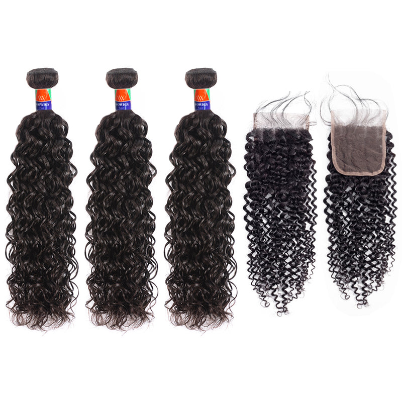 3 Bundles With a 4×4 Lace Closure Curly Hair Virgin Hair Extensions