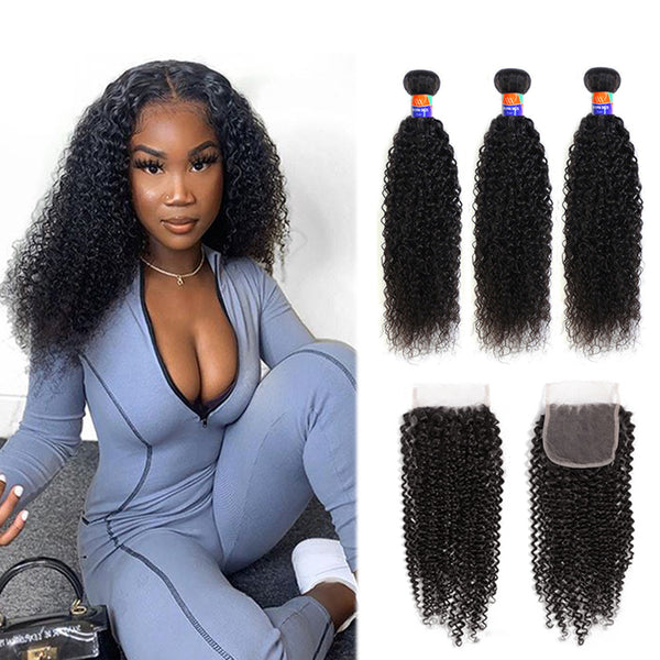 3 Bundles With a 4×4 Lace Closure Kinky Curly Virgin Hair Extensions