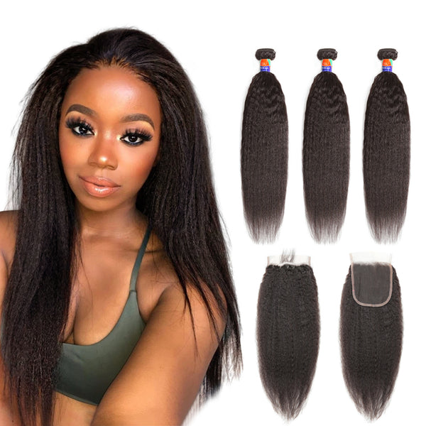 3 Bundles With a 4×4 Lace Closure Kinky Straight Virgin Hair Extensions