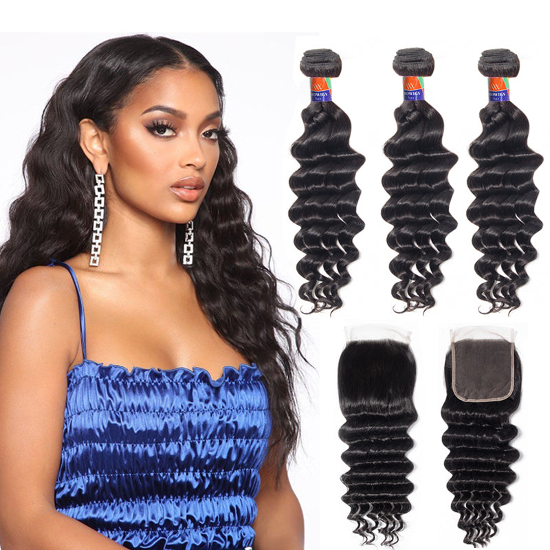 3 Bundles With a 4×4 Lace Closure Deep Wave Virgin Hair Extensions