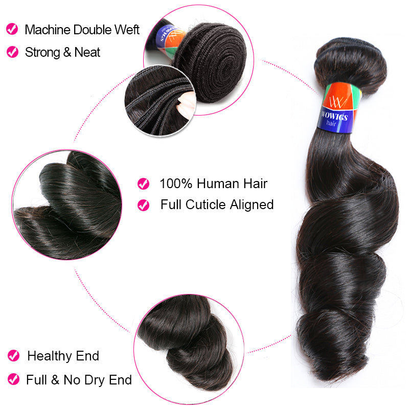 3 Bundles With a 4×4 Lace Closure Loose Wave Virgin Hair Extensions
