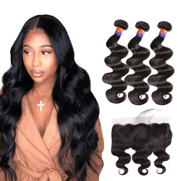 3 Bundles With a Frontal Body Wave 100% Unprocessed Virgin Hair Extensions