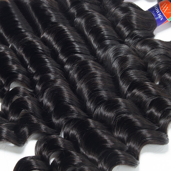 3 Bundles With a Frontal Deep Wave 100% Unprocessed Virgin Hair Extensions