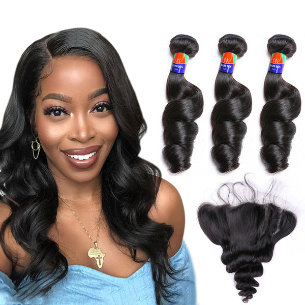 3 Bundles With a Frontal Loose Wave 100% Unprocessed Virgin Hair Extensions