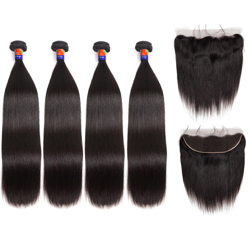 3 Bundles With a Frontal Straight Hair 100% Unprocessed Virgin Hair Extensions