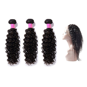 3 Bundles With 360 Frontal Curly  Hair 100% Unprocessed Virgin Hair Extensions