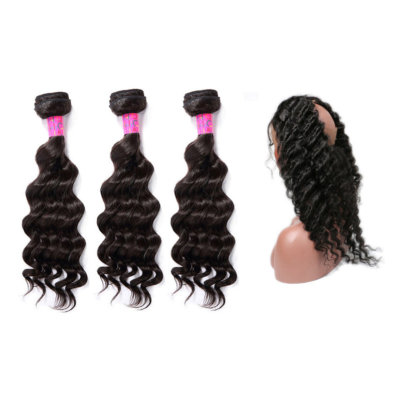 3 Bundles With 360 Frontal Deep Wave Hair 100% Unprocessed Virgin Hair Extensions