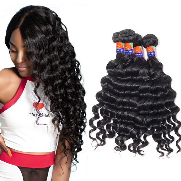 4 Bundle Deals Deep Wave 100% Virgin Hair Extensions