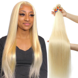 4 Bundle Deals Platinum Blonde Straight Hair 100% Virgin Hair Extensions