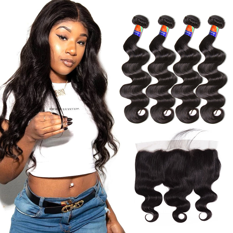 4 Bundles With a 13x4 Lace Frontal Body Wave Hair Virgin Hair Extensions