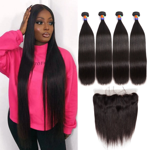 4 Bundles With a 13x4 Lace Frontal Straight Hair Virgin Hair Extensions