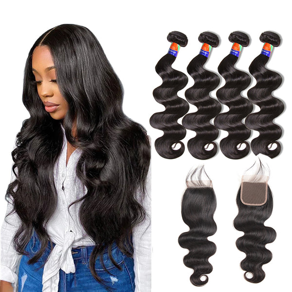 4 Bundles With a 4x4 Lace Closure Body Wave Hair Virgin Hair Extensions