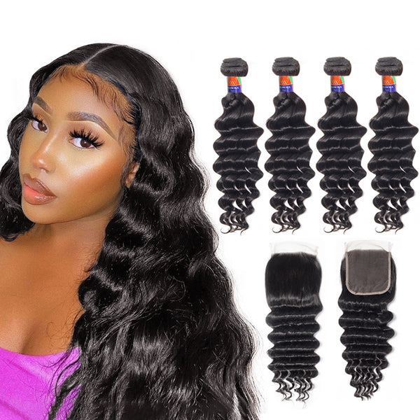 4 Bundles With a 4x4 Lace Closure Deep Wave Hair Virgin Hair Extensions