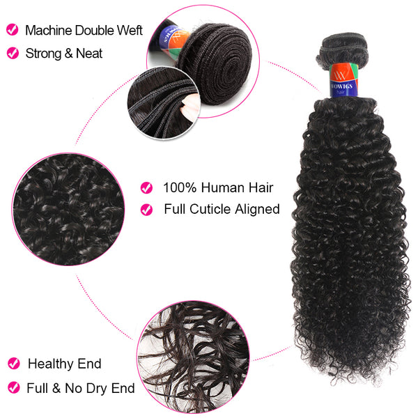 4 Bundles With a 4x4 Lace Closure Kinky Curly Hair Virgin Hair Extensions