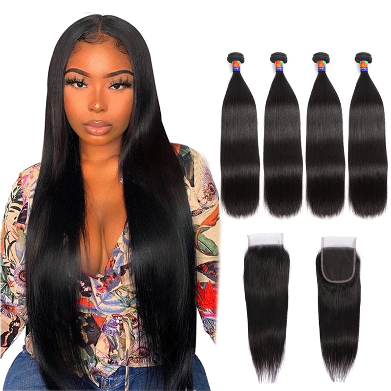 4 Bundles With a 4x4 Lace Closure Straight Hair Virgin Hair Extensions
