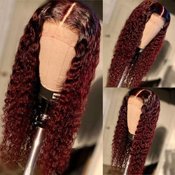 JANET Burgundy Curly Human Hair Lace Wig Pre Plucked with Baby Hair