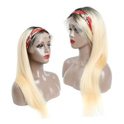 Customized #1B Roots Blonde #613 Straight Hair Lace Front Wig Full Lace Wig