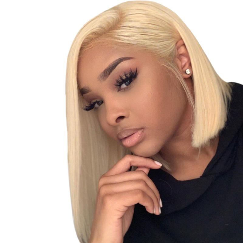 Blonde #613 Bob Lace Front Wig Full Lace Wig 100% Human Hair
