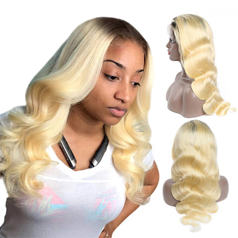 #1B Roots Blonde #613 Body Wave Lace Front Wig Full Lace Wig
