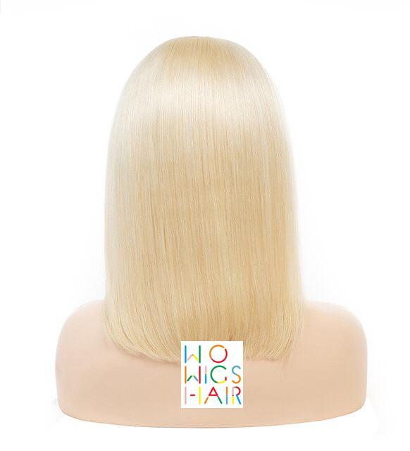 Blonde #613 Bob with Bangs Lace Frontal Wig Full Lace Wig 100% Human Hair