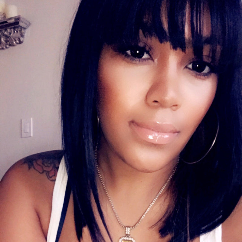 Short Bob with Bangs 100% Virgin Hair Wigs Lace Front Wig Full Lace Wig 2