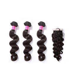 3 Bundles With a Silk Closure 4×4 Loose Wave Virgin Hair Extensions