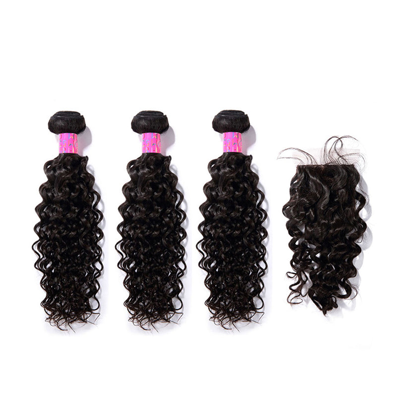 3 Bundles With a Silk Closure 4×4 Curly Hair Virgin Hair Extensions