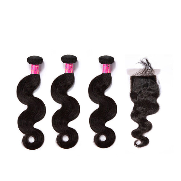 3 Bundles With a Silk Based Closure 4×4 Body Wave Virgin Hair Extensions