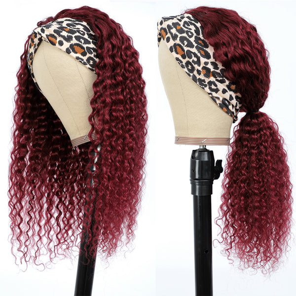EVAN Bugundy Curly Headband Wig Human Hair Wig