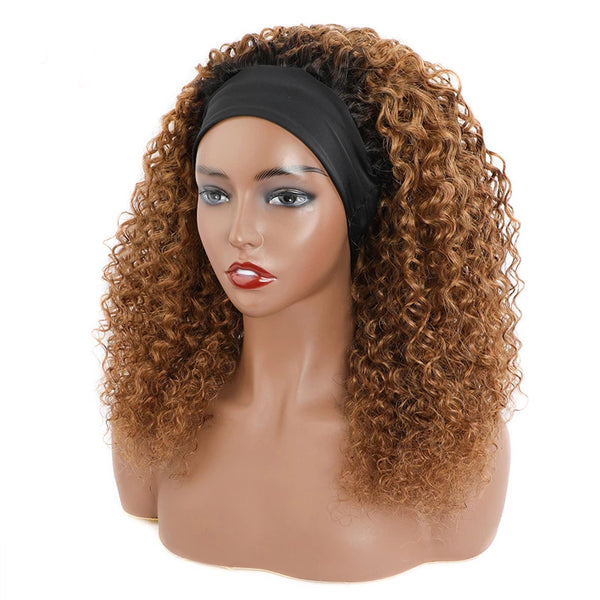 PAIGE Dark Roots Chestnut Curly Headband Wig Human Hair Wig