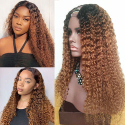 Dark Roots Chestnut Curly U Part Wig 100% Human Hair Wig