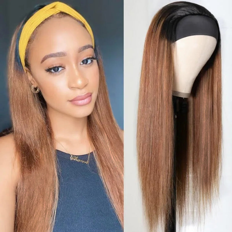 Dark roots Coffee Straight Headband Wig 100% Human Hair