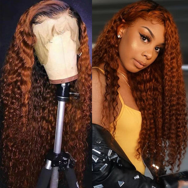 KERRY - Fiery Copper Curly Human Hair Full Lace Wig Breathable and Pre Plucked