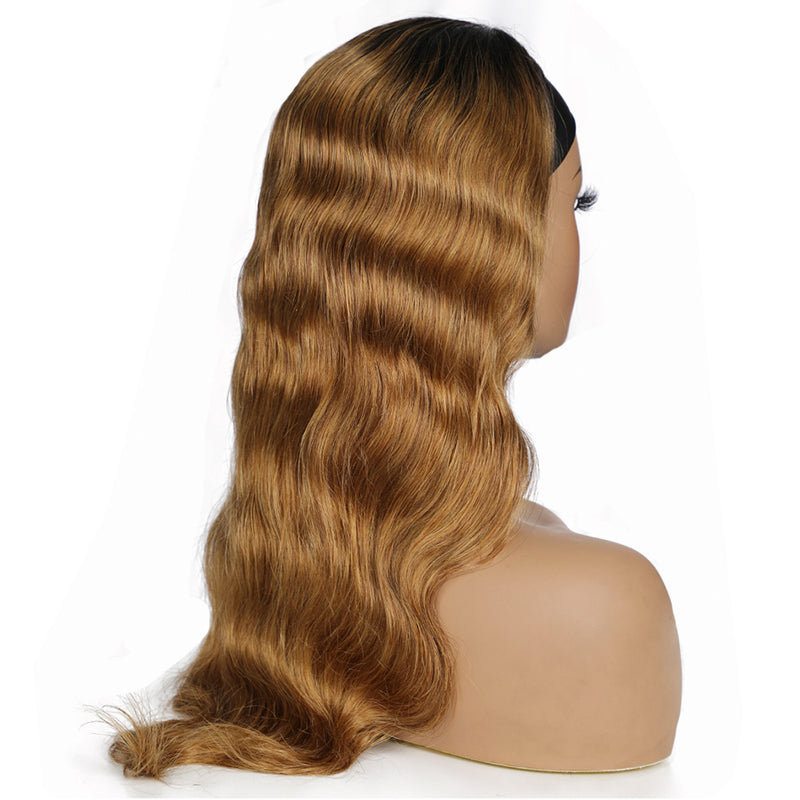 Customized Honey Blonde Body Wave Headband Wig *No Lace No Glue*