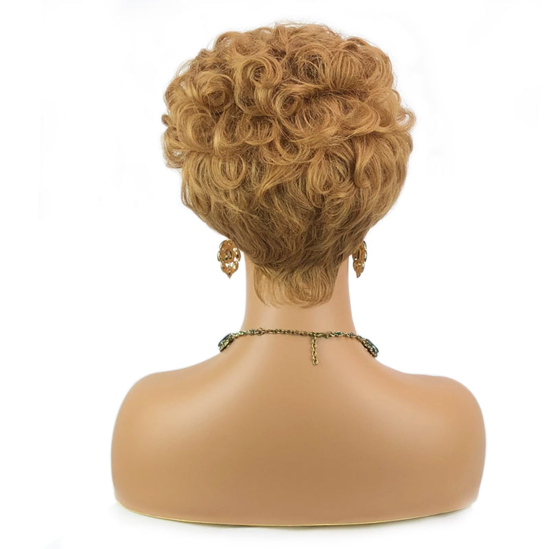 Honey Blonde Pixie Cut Short Bob Wig *Ready to Wear Full Machine Wig, No Lace*