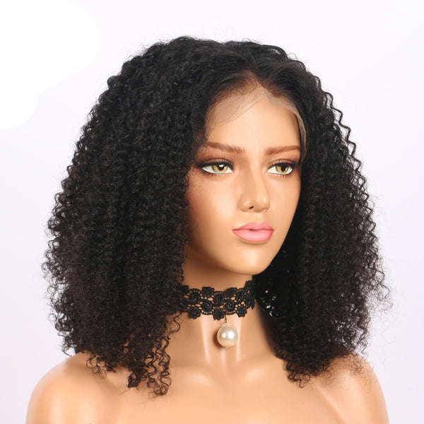SYMONE - Kinky Curly Bob Wigs 220% Density Virgin Human Hair Cute Bob Lace Frontal Wig