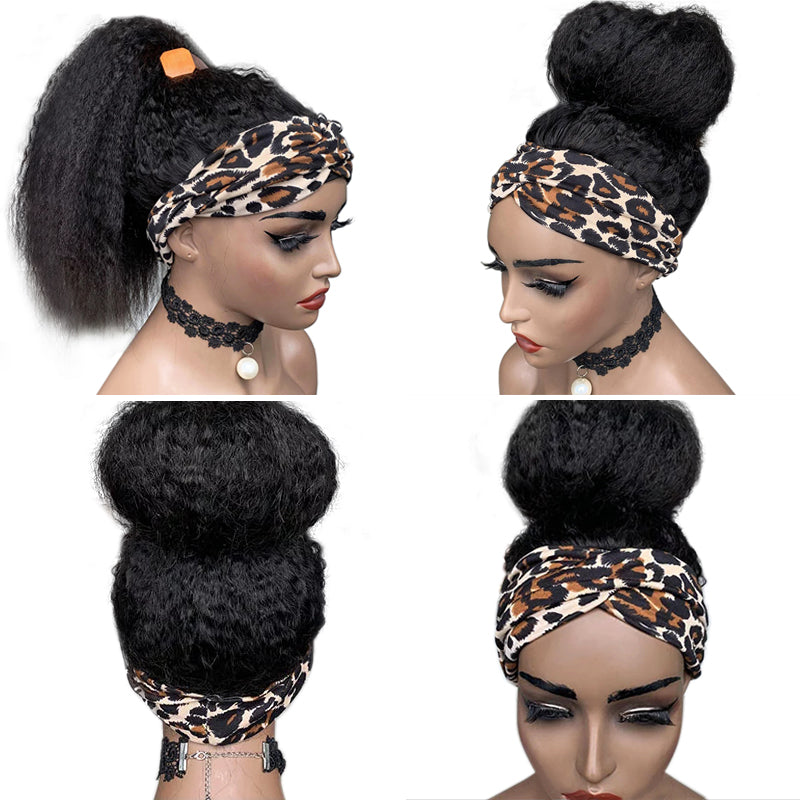 RAVEN Kinky Straight Headband Wig *No Lace No Glue* Beginner Friendly & Convenient